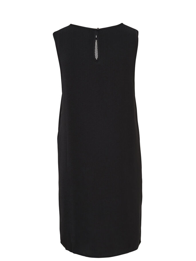 MESH SLEEVELESS DRESS, Black, large