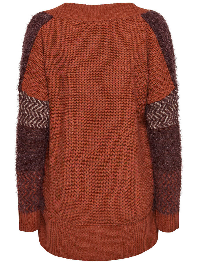 CONTRAST KNITTED CARDIGAN, Arabian Spice, large