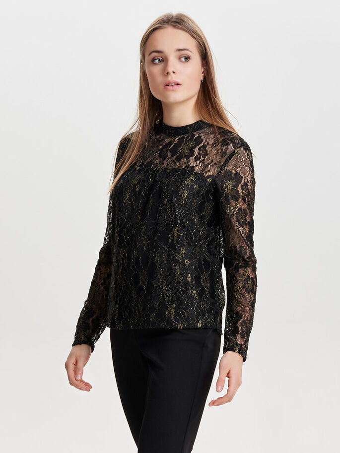 LACE LONG SLEEVED TOP, Black, large