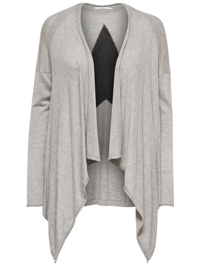 EFFET DRAPÉ CARDIGAN EN MAILLE, Light Grey Melange, large