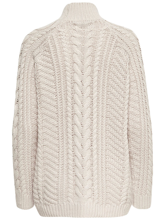 HIGH NECK STRIKKET PULLOVER, Pumice Stone, large