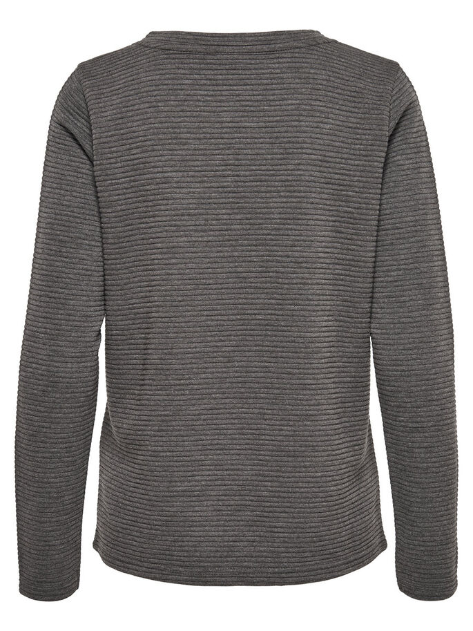LACE-UP TOP MED LANGE ÆRMER, Dark Grey Melange, large