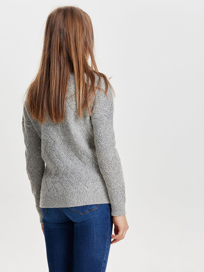 ENSFARGET STRIKKET PULLOVER, Light Grey Melange, large