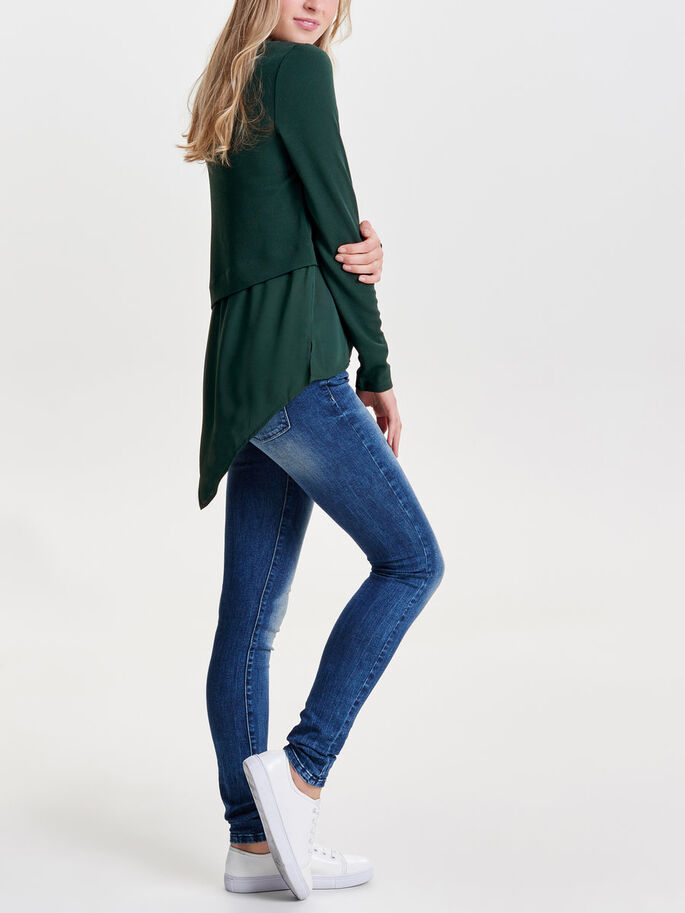 ASYMMETRIC LONG SLEEVED TOP, Scarab, large