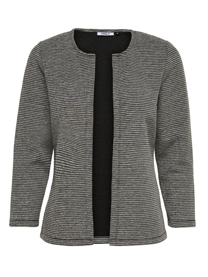 7/8 ERMET STRIKKET CARDIGAN, Light Grey Melange, large
