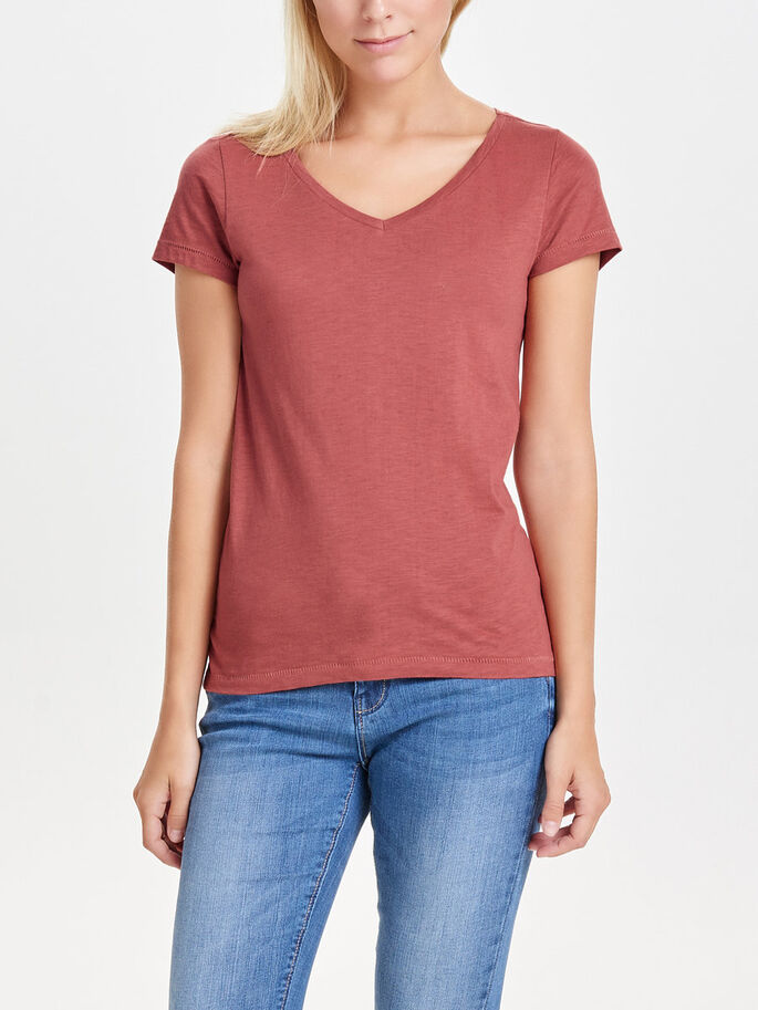 BASIC TOP MET KORTE MOUWEN, Marsala, large