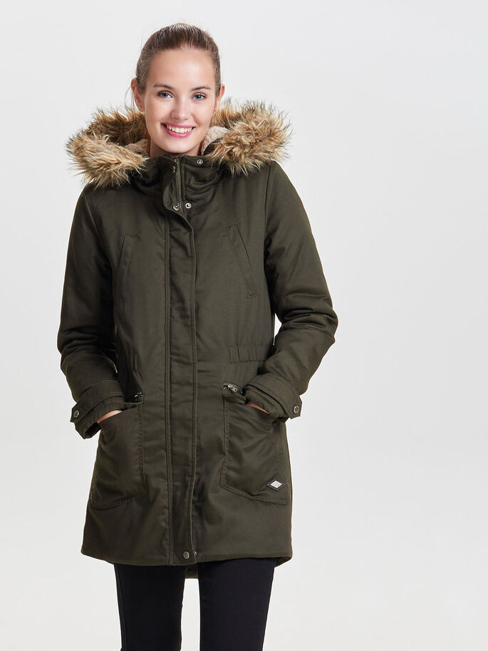 PADDED PARKA COAT, Peat, large