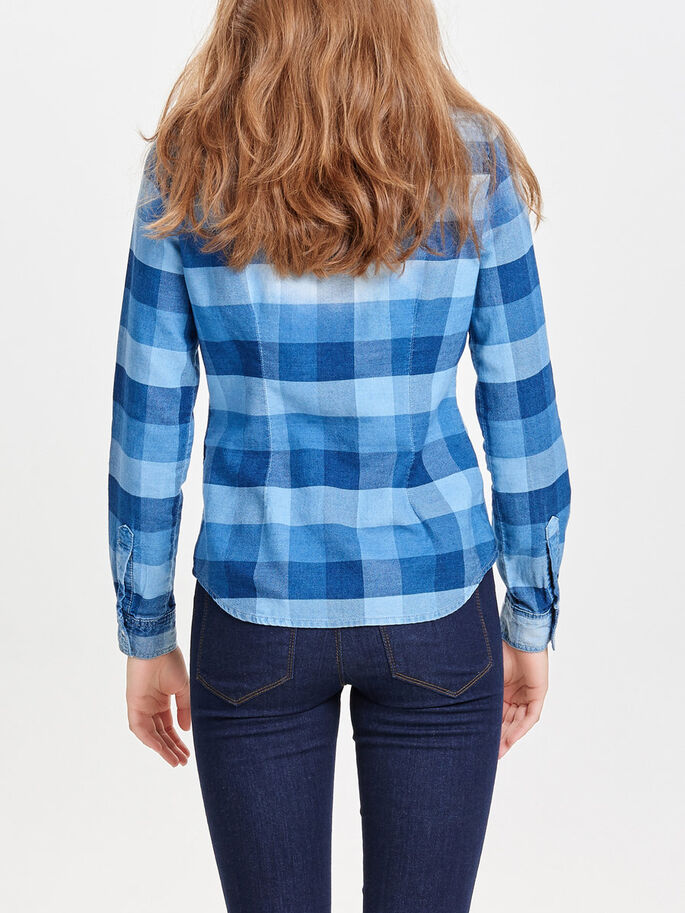 TERNET LANGÆRMET SKJORTE, Medium Blue Denim, large