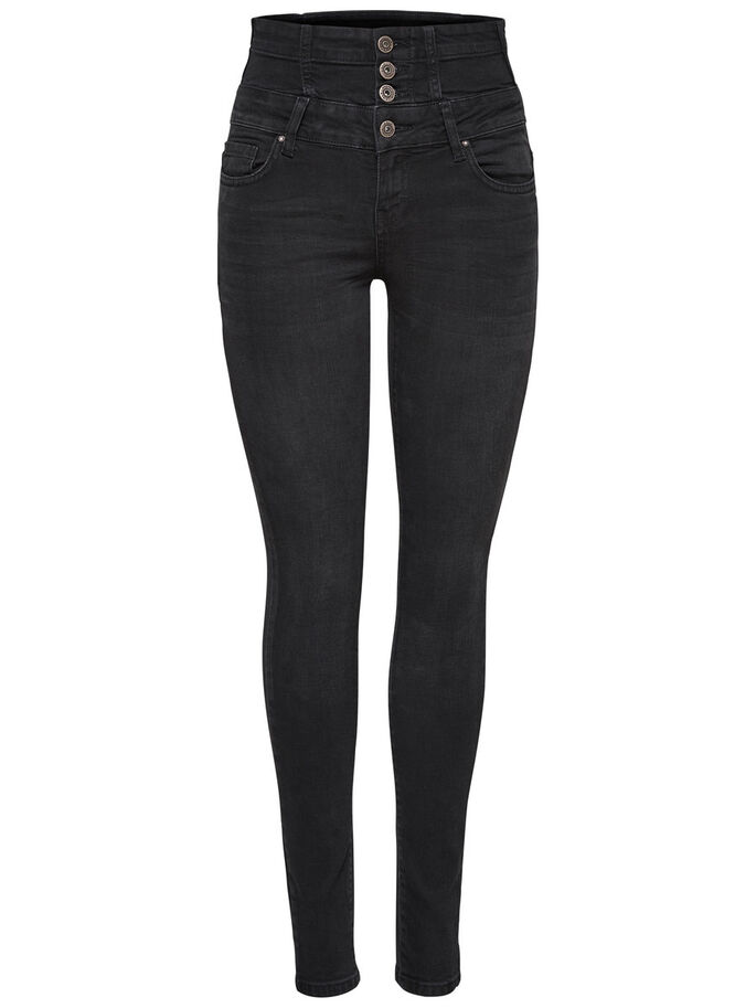 CORAL CORSAGE SKINNY FIT JEANS, Black, large