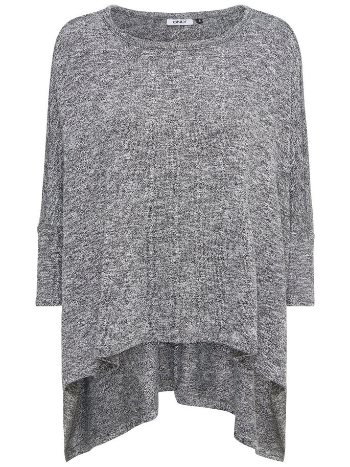 OVERSIZE- STRICKOBERTEIL, Light Grey Melange, large