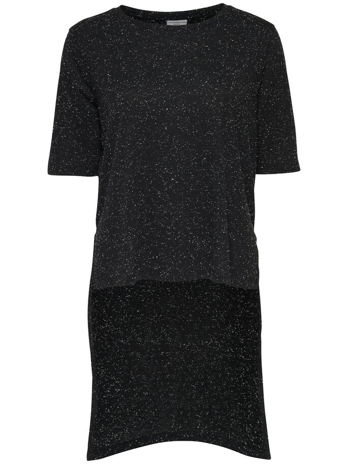 HIGH LOW SHORT SLEEVED TOP, Black, large