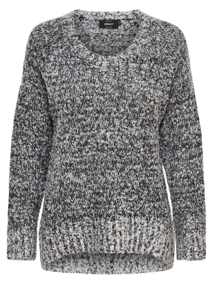 ENSFARVET STRIKKET PULLOVER, Light Grey Melange, large