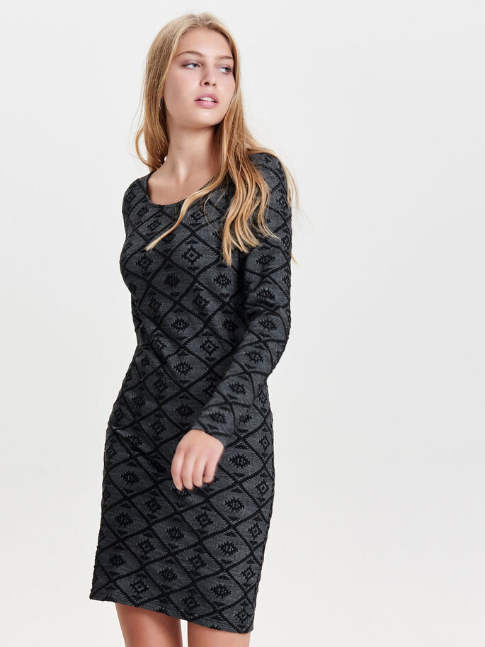PATTERNED LONG SLEEVED DRESS, Black, large