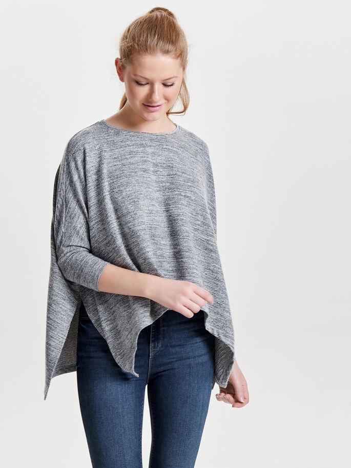 OVERSIZED 3/4 SLEEVED TOP, Light Grey Melange, large