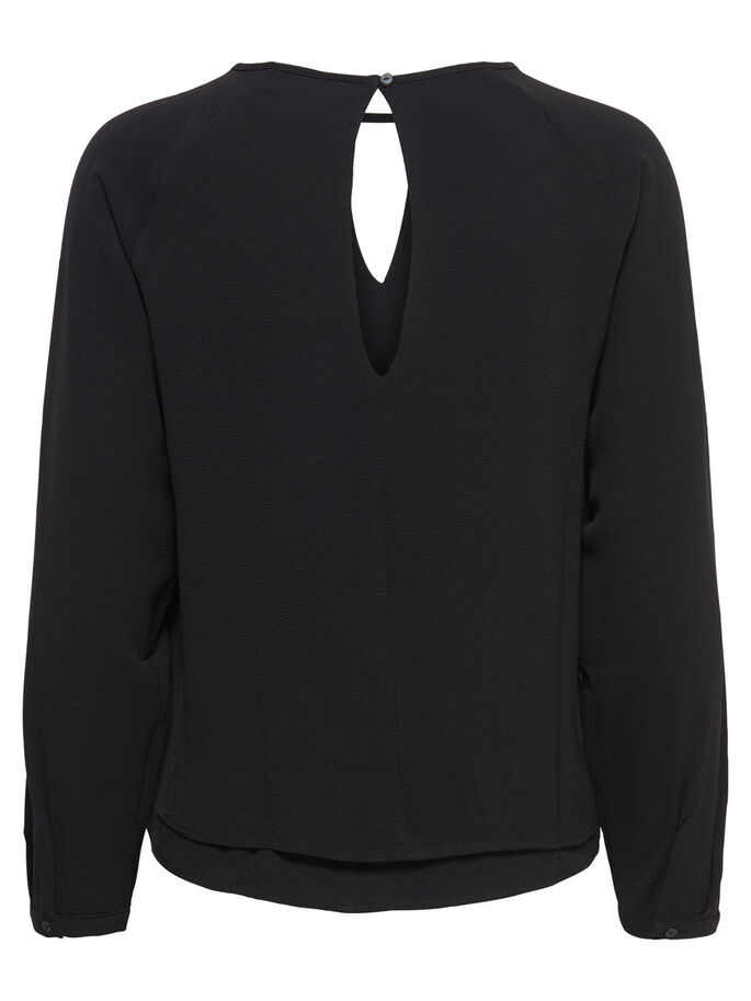 ENSFARVET TOP MED LANGE ÆRMER, Black, large
