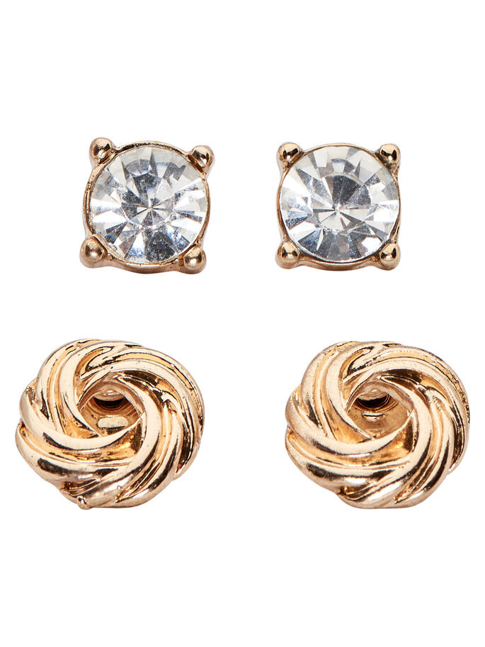 2-PACK EARRINGS, Gold Colour, large