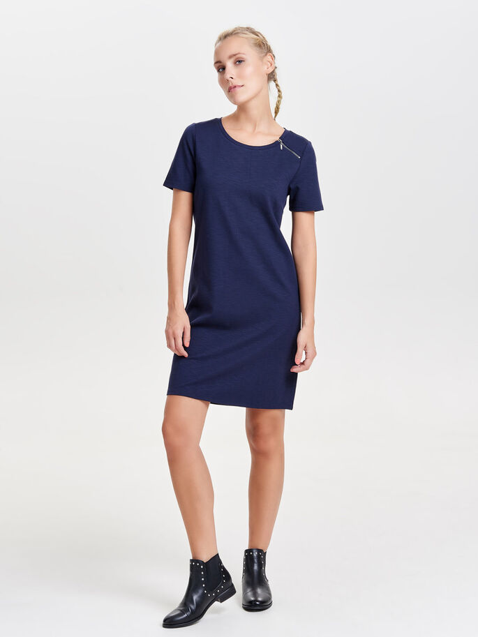 ZIP DETAILED SHORT SLEEVED DRESS, Night Sky, large