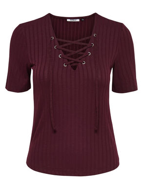 LACE-UP 2/4 SLEEVED BLOUSE