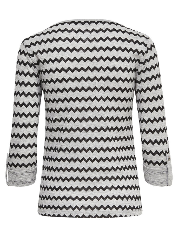 MØNSTRET TOP MED 3/4-ÆRMER, Light Grey Melange, large