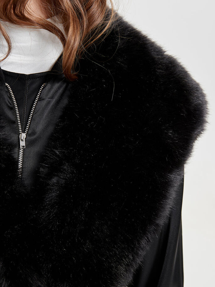 FUR LOOK COLLAR, Black, large