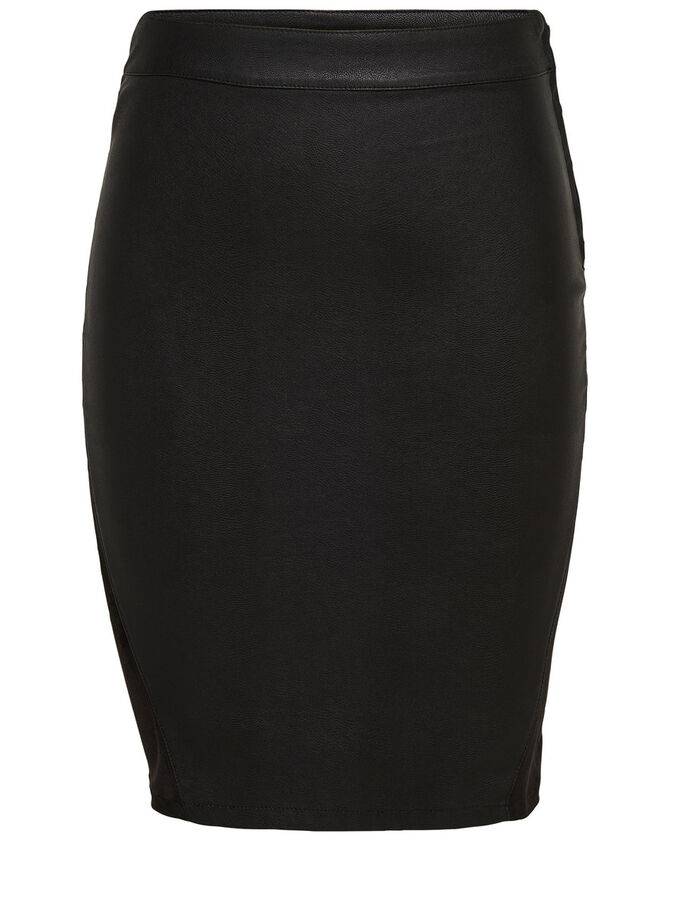 LEATHER LOOK MIDI SKIRT, Black, large