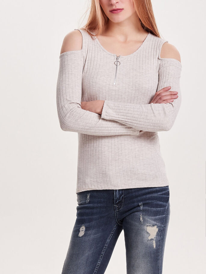 COLD-SHOULDER LONG SLEEVED TOP, Oatmeal, large