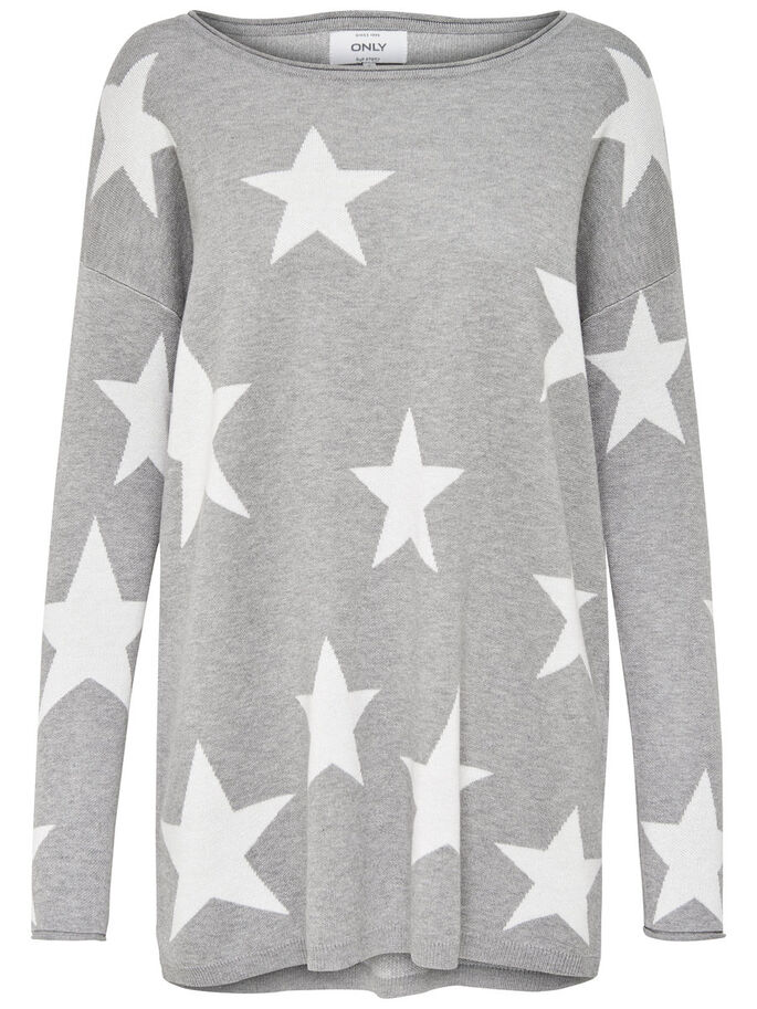 OVERSIZE STRIKKET PULLOVER, Light Grey Melange, large