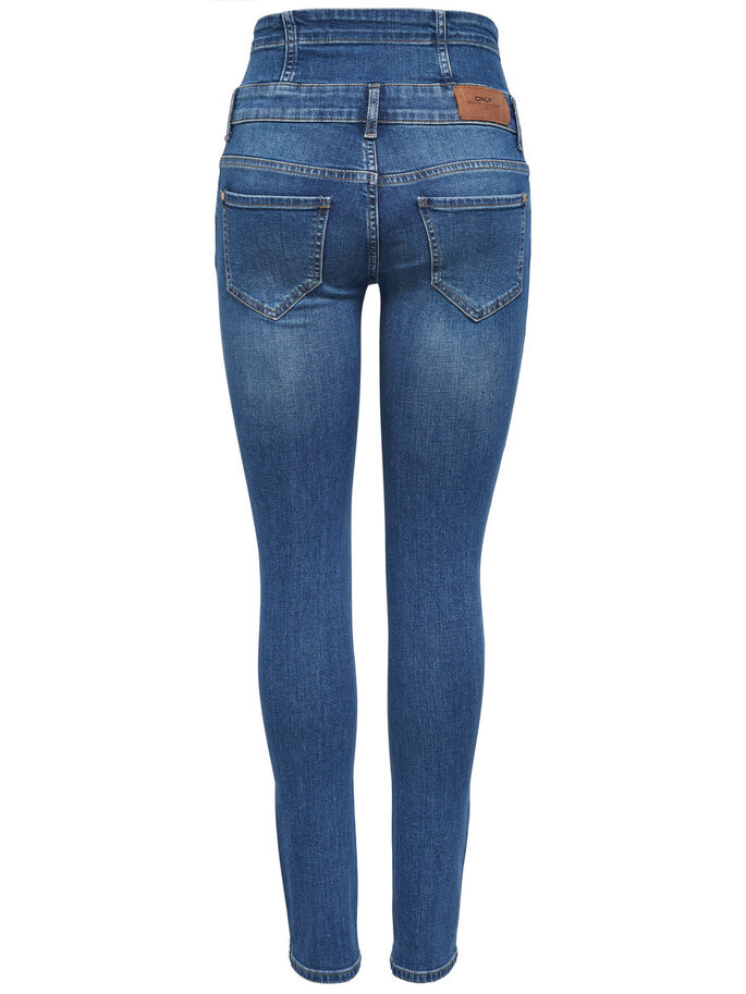 CORAL CORSAGE SKINNY JEANS, Medium Blue Denim, large