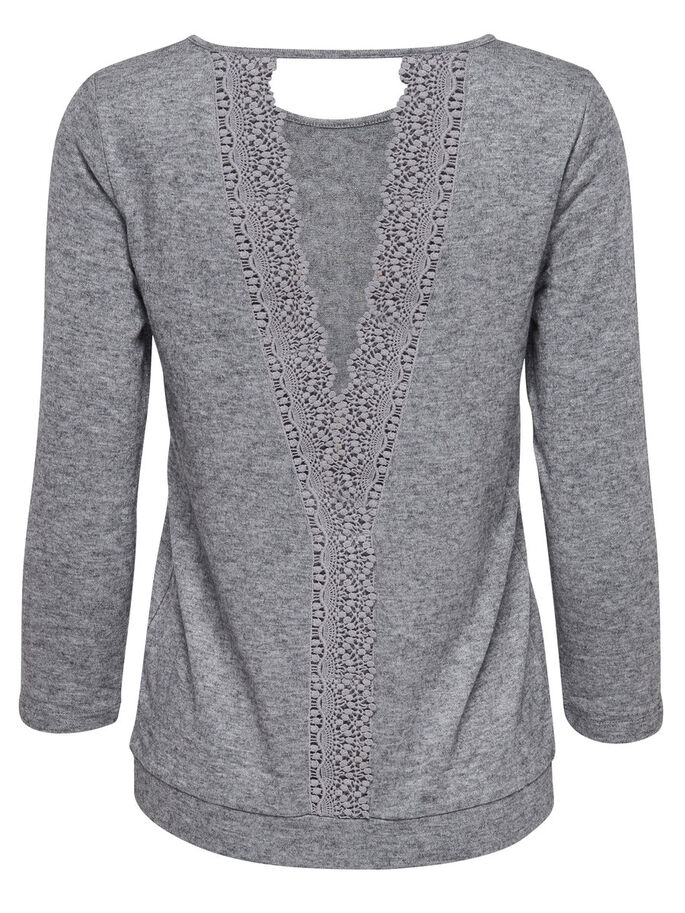 LACE 3/4 SLEEVED TOP, Light Grey Melange, large