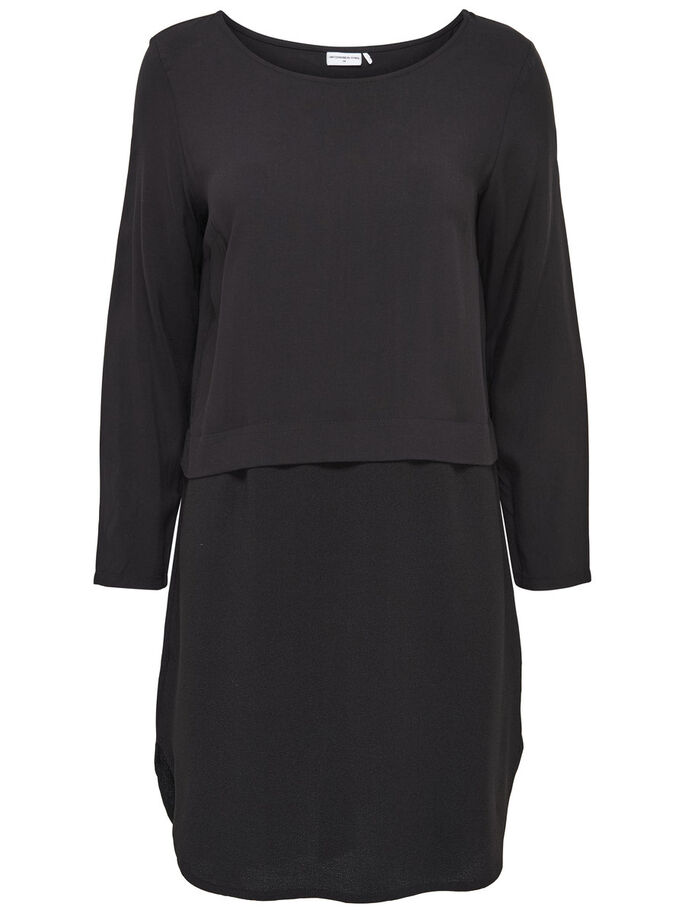 MIXED LONG SLEEVED DRESS, Black, large