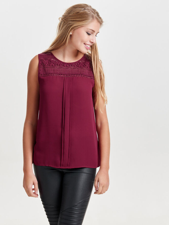 LACE DETAILED SLEEVELESS TOP, Rhododendron, large