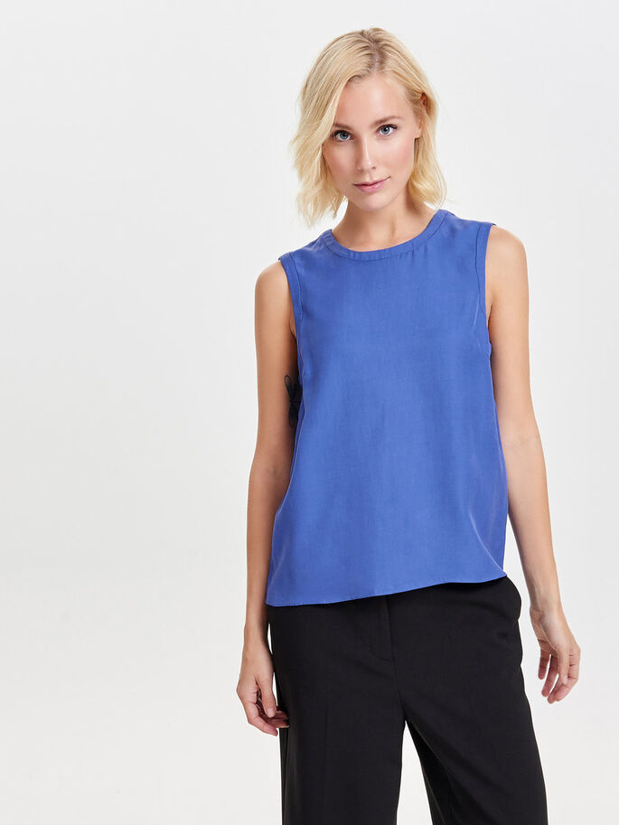 SOLID SLEEVELESS TOP, Amparo Blue, large