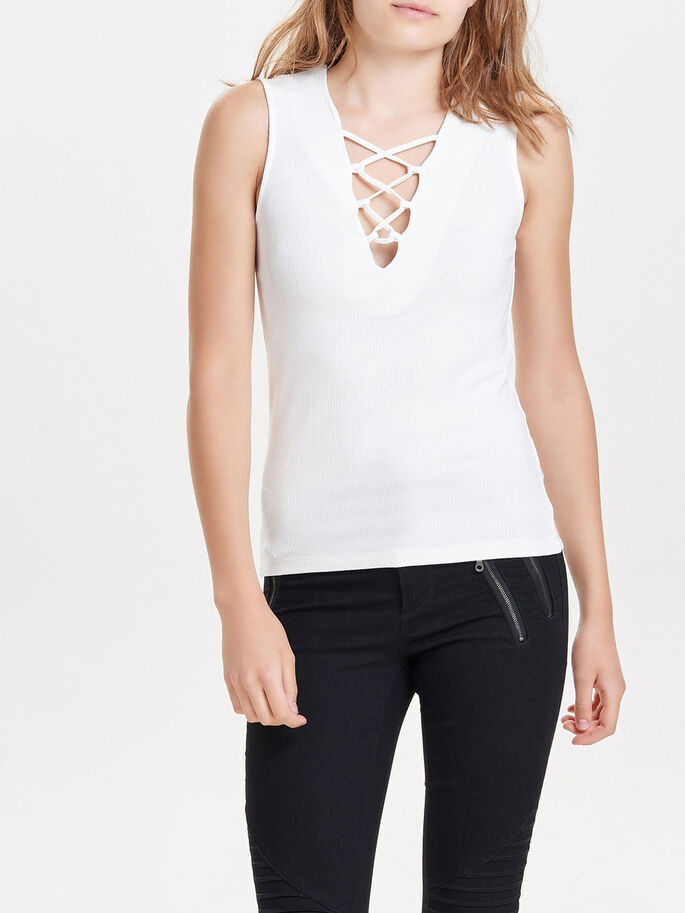 LACE-UP SLEEVELESS TOP, Cloud Dancer, large