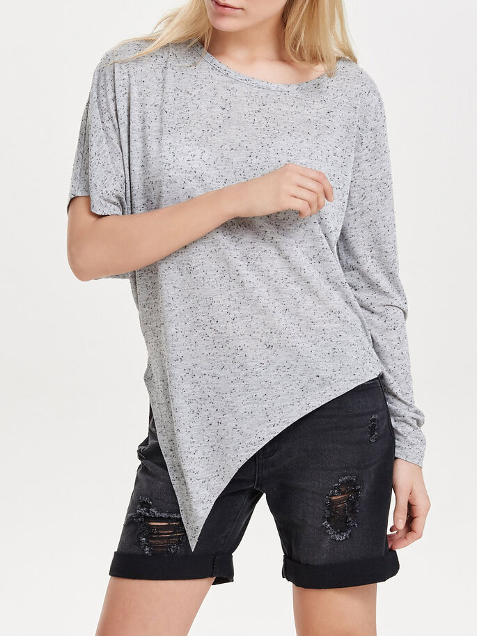 ASYMMETICAL 3/4 SLEEVED TOP, Light Grey Melange, large