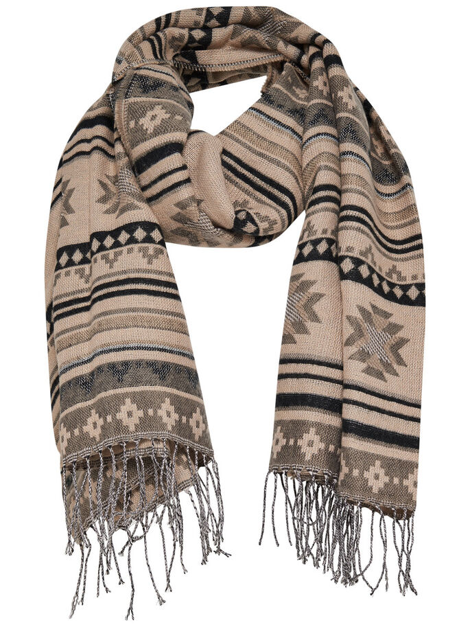 PATTERNED SCARF, Camel, large