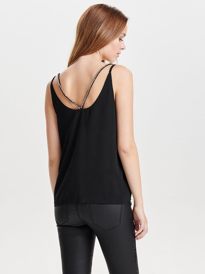 DETAILED SLEEVELESS TOP, Black, large