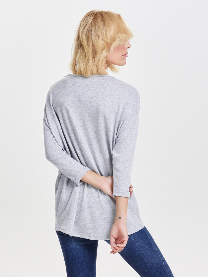 LOOSE LONG SLEEVED TOP, Light Grey Melange, large
