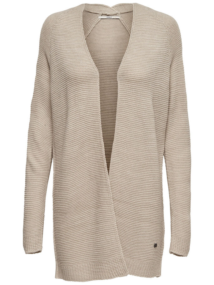 LANGER STRICK-CARDIGAN, Oatmeal, large