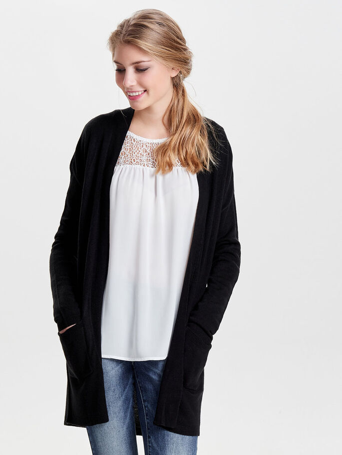 LØS KNITTED CARDIGAN, Black, large