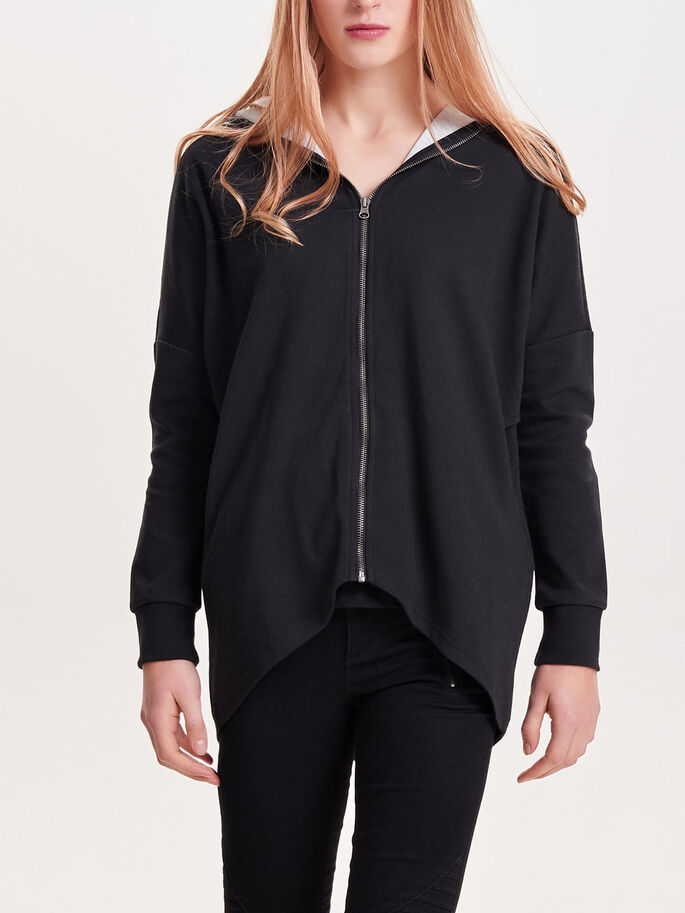 LOOSE SWEAT JACKET, Black, large