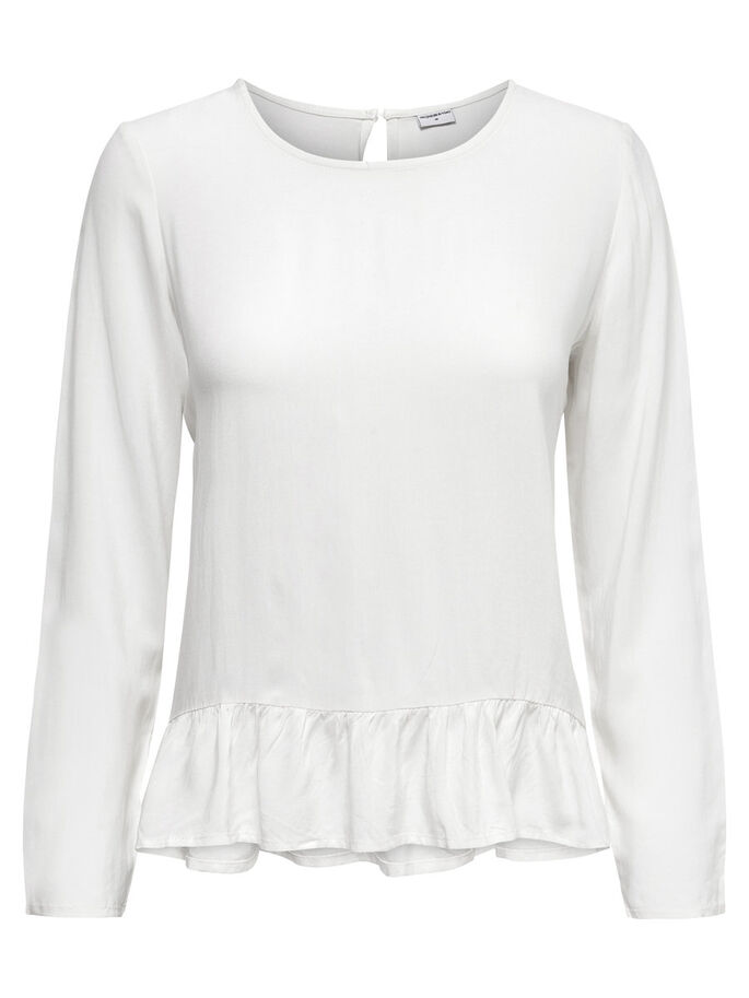 FRILL LONG SLEEVED TOP, Cloud Dancer, large