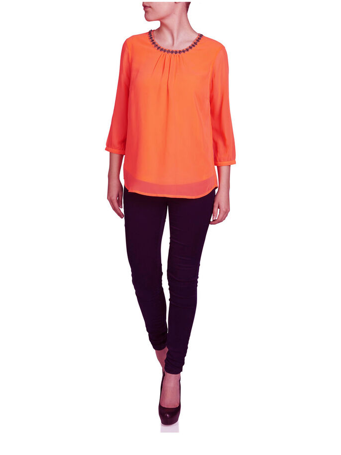 DETAILED 3/4 SLEEVED BLOUSE, Fiery Coral, large