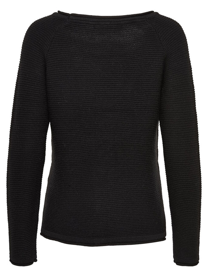 GEPUNKTETER STRICKPULLOVER, Black, large