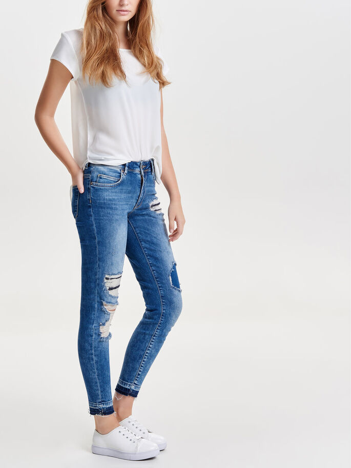 CARMEN NORMALHÖGA LAGADE ANKELLÅNGA SKINNY FIT-JEANS, Light Blue Denim, large