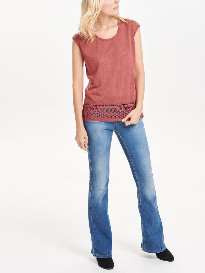 LACE SLEEVELESS TOP, Marsala, large