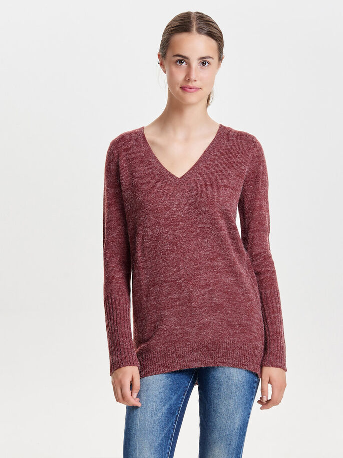 LONG KNITTED PULLOVER, Syrah, large