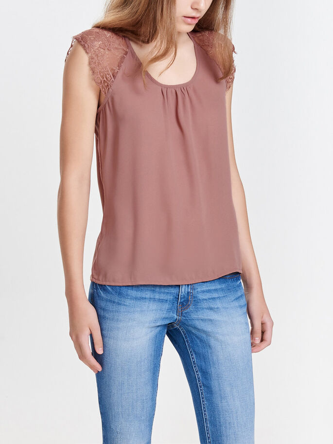 LACE SHORT SLEEVED TOP, Cognac, large