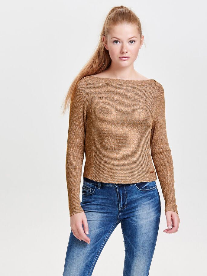 CROPPED KNITTED PULLOVER, Rubber, large