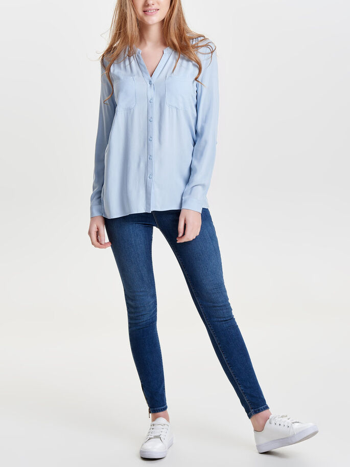 LOOSE LONG SLEEVED SHIRT, Cashmere Blue, large