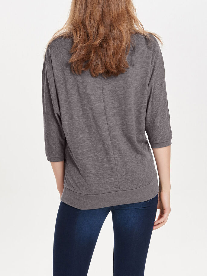 AMPLE TOP MANCHES 3/4, Dark Grey Melange, large